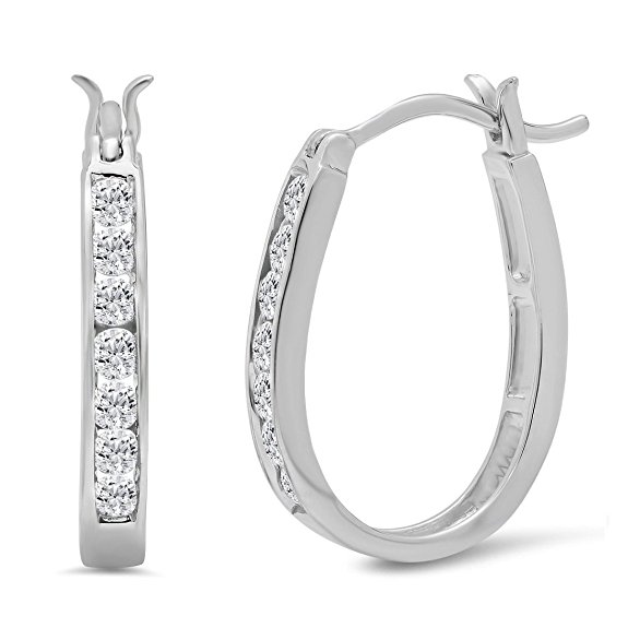 AGS Certified 1/2ct TW Diamond Oval Shaped Hoop Earrings Crafted in 10K Gold
