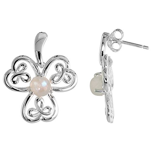 Sterling Silver Genuine Moonstone Celtic Shamrock Earrings Large Dangle Post Flawless Finish, 7/8 inch