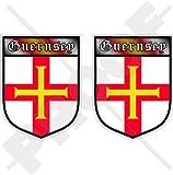 Channel Islands Guernsey Shield UK Großbritannien 75mm (7,6cm) Bumper Sticker, Aufkleber Vinyl X2