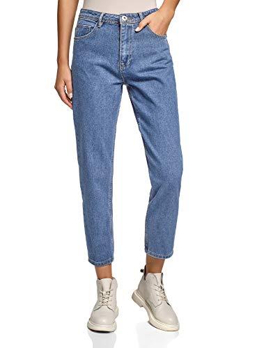 oodji Ultra Donna Jeans Mom Fit a Vita Alta, Blu, 28W / 32L