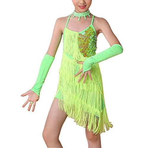 Yuluo Niña Latina Danza Ballet Vestido - Niños Fiesta Flecos Lentejuelas Competición Manguitos Ropa Baile Samba Rumba Tango Salsa Salón de Baile Disfraces