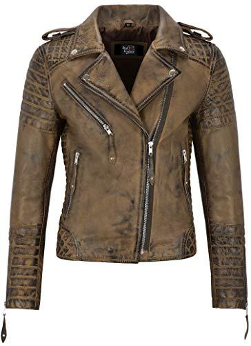Smart Range Leather Co. Ltd. Giacca in Pelle da Donna Classico Stile da Motociclista 100% Vera Pelle Napa 2260 (8 for Bust 74cm, Dirty Brown)