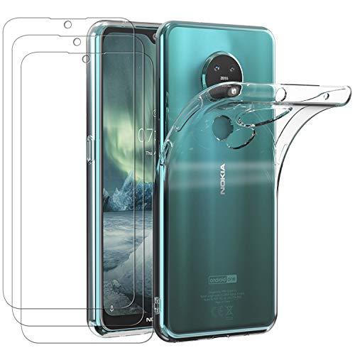 ivoler Hülle für Nokia 6.2 / Nokia 7.2, mit 3 Stück Panzerglas Schutzfolie, Dünne Weiche TPU Silikon Transparent Stoßfest Schutzhülle Durchsichtige Handyhülle Kratzfest Hülle