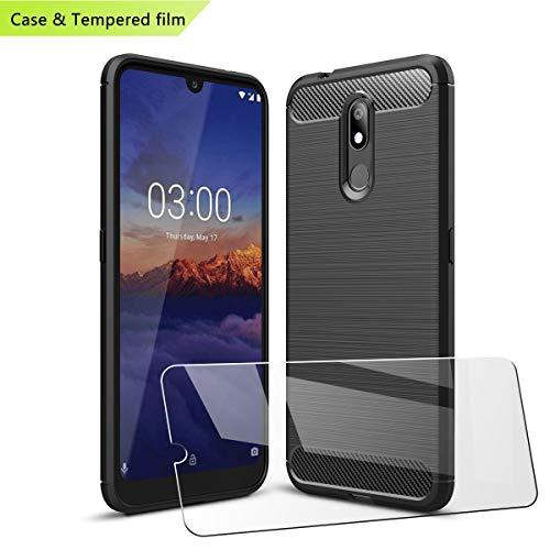"""LJSM per Nokia 3.2 Cover Nero Carbon Fiber + Pellicola Protettiva in Vetro Temperato - Morbida Case Flessibile TPU Fibra di Carbonio Custodia per Nokia 3.2 2019 (6.26"""")"""