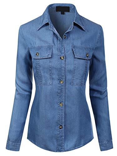 MixMatchy Women's Classic Long Sleeve Button Down Tencel Shirt with Pockets Medium Denim S