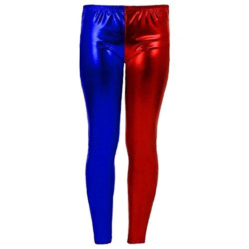 Janisramone Nouve Donne Rosso e Blu Misfit Cosplay Festa di Halloween Pantaloncini Suicide Squad Top Pantaloni Leggings