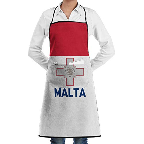 QYWTE Originality Malta Flag Apron with Pockets Locked for Cooking Baking Crafting Gardening BBQ (20.5 X 28.3 Inches)