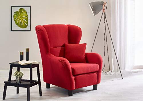 lifestyle4living Ohrensessel in rot im Landhausstil | Der perfekte Sessel für entspannte, Lange Fernseh- und Leseabende. Abschalten und genießen!