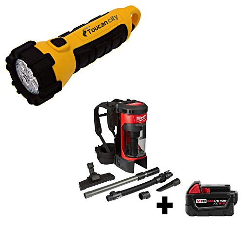 Toucan City LED Flashlight and Milwaukee M18 FUEL 1 Gal. 18-Volt Lithium-Ion Brushless Cordless 3-in-1 Backpack Vacuum W/ 5.0Ah Battery 0885-20-48-11-1850