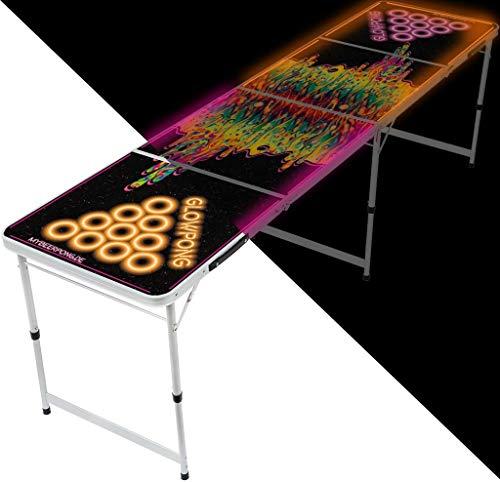 MBP My Beer Pong® - Beerpong Tisch Space Lava - Glowpong Edition mit LED Beleuchtung in orange und pink im einzigartigen Design. 3 Leuchtvarianten inkl. Dauerbeleuchtung