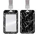 Marble Id Badge Holder with Lanyard Slide Cover ABS Waterproof Clear Id Window Detachable Neck Lanyard for School Id Office Id Men Women Teen Kids