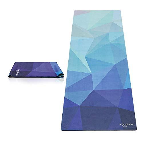 YOGA DESIGN LAB | Travel Yoga Mat | 2-in-1 Mat+Towel | Lightweight, Foldable, Eco Luxury | Ideal for Hot Yoga, Bikram, Pilates,...
