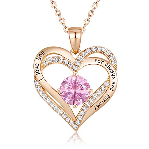 CDE Forever Love Heart Women Necklace 925 Sterling Silver Rose Gold...
