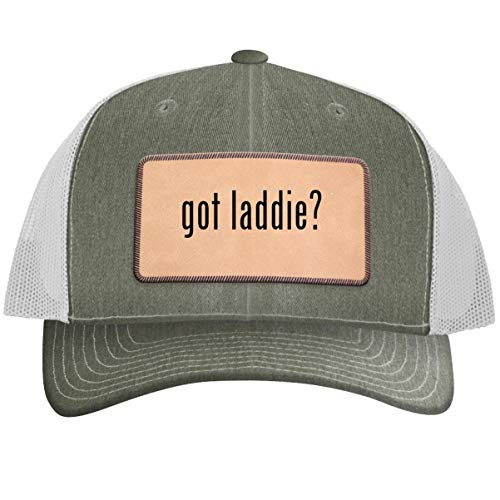 got Laddie? - Leather Light Brown Patch Engraved Trucker Hat, Heather-White, One Size