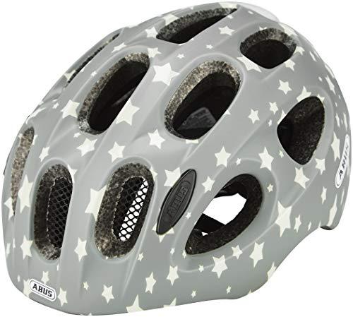 ABUS Youn-I Kinderhelm - Fahrradhelm für Kinder mit LED-Rücklicht für den Alltag - für Mädchen und Jungen - 81817 - Grau mit Sternen, Größe M