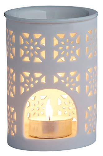 Duftlampe aus Keramik für Teelicht in Weiß 12cm | Aromalampe für Aroma Duft öl | Windlicht Teelichthalter für Teelichter innen und außen | Weiße Landhaus Duftlampen Aromalampen als Dekoration