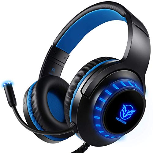 Pacrate Gaming Headset for PS4 PC Xbox One Headset with Microphone Noice Cancelling Stereo Surround Sound Headphone with LED Light Intense Bass for PC Laptop Mac (Black Blue) (Renewed)