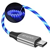 USB Type C Cable, AOLIPLUS 3A 6FT LED Light Up Flowing Fast Charge Cord Compatible with Samsung Galaxy S20/S10/S9/S8, LG V20/ V30/V40, USB-C to USB-A Fast Charging C Cables(Blue)