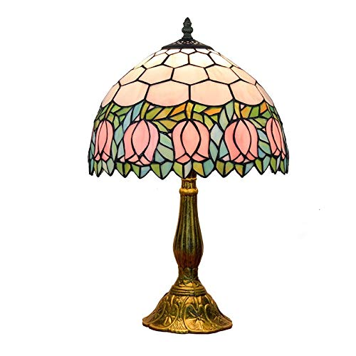 ODIFFTY Blivuself 12 Pulgadas del vitral de Tiffany lámpara de Mesa Creativa de Color de Flores de Cristal de la Sala Comedor Dormitorio lámpara de Escritorio de la cabecera Bar Jardín Decoración