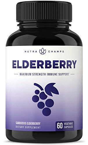 Elderberry Capsules 1200mg - Premium Supplement for Powerful Immune System Support & Relief from Cold & Allergies - Black Elder Berry Extract Nigra Antioxidant Vitamin - 60 Vegan Pills