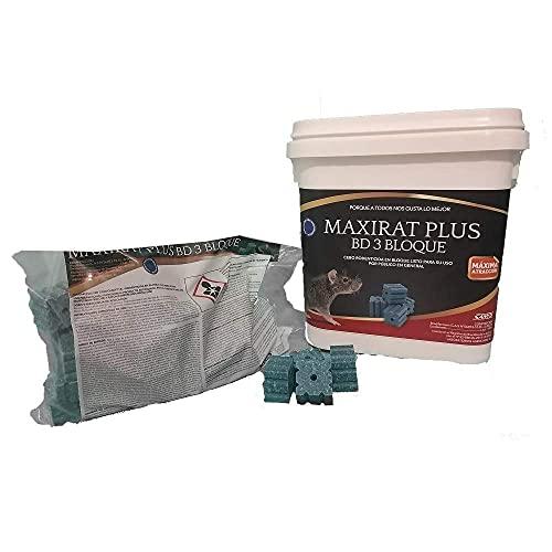 MAXIRAT Plus BD-3 Bloque Cebo en Bloques con Brodifacoum - Cubo 3 kg (3 x 1 kg x 20 gr)