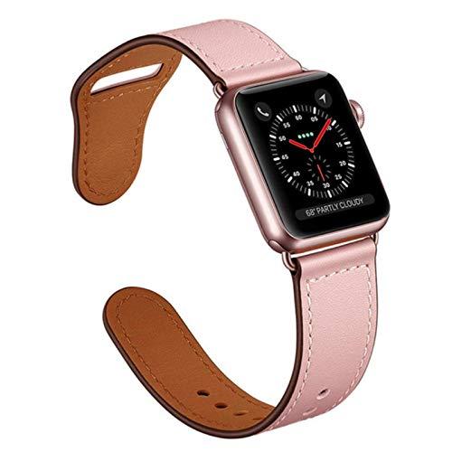 Correa para Apple Watch 6 Band 44mm 40mm Para Iwatch 42mm 38mm Cinturón Correas de reloj de cuero Pulsera para Serie 5 4 3 2 SE-R Rose, 38-40mm Serie 54321
