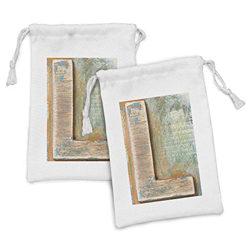 Ambesonne Letter L Fabric Pouch Set of 2, Letterpress Natural Old Texture Backdrop Writing Timeworn Design Typography, Small Drawstring Bag for Toiletries Masks and Favors, 9' x 6', Multicolor