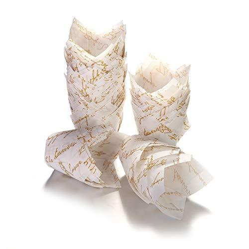 Barabum Backförmchen aus Papier in Tulpenform, für Cupcakes, Muffins, Braun und Weiß