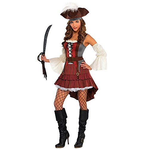 Generique - Piratenbraut Seeräuber-Kostüm für Damen rot-braun-Weiss M