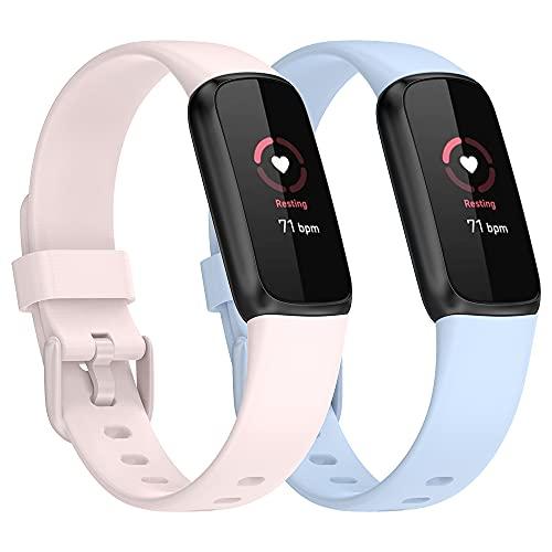 Tiggo Correa para Fitbit Luxe,Bandas De Correa Repuesto la pulsera de actividad y bienestar ,Recambio Brazalete Correa Repuesto Strap Wristband para FitbitLuxe -Modelos de pareja (Khaki + blue)