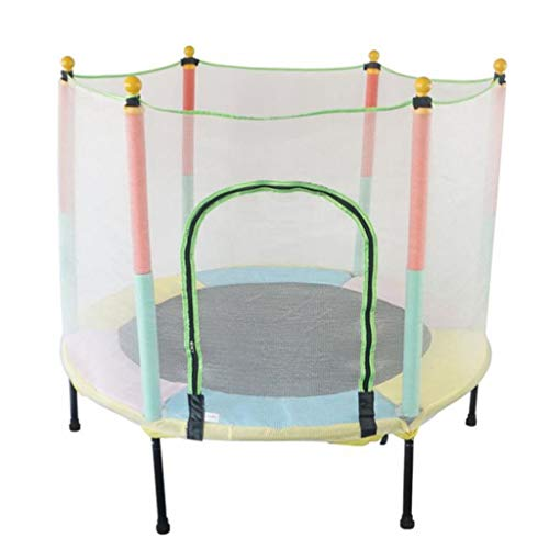 M-YN Trampoline with Enclosure Net, 1.4m/55inch High Elasticity Trampoline with Safety Enclosure,- Indoor Outdoor Trampoline for Toddler, Kids, Durable Stand Net