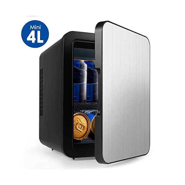 Mini Fridge with Cooler and Warmer, Small 4 Liter Large Capacity Portable Compact Fridge, Super Quiet In-Vehicle Freezer for Cars, Homes, Offices, and Dorms