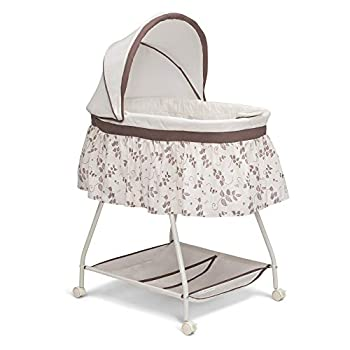 Delta Children Deluxe Sweet Beginnings Bedside Bassinet - Portable Crib with Lights and Sounds Falling Leaves
