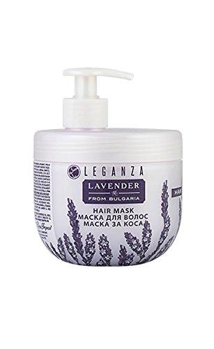 Masque Capillaire à l'huile Essentielle de Lavande Bio, de Leganza pour Cheveux Gras ou Cuir Chevelu Sensible 500 ml Sans Parabens Sans Silicone
