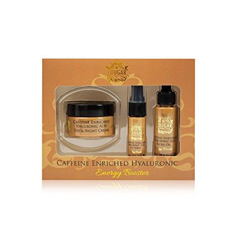 Caffine enrichie en Acide hyaluronique Trio : Crème de jour et nuit, huile de visage, Sérum yeux