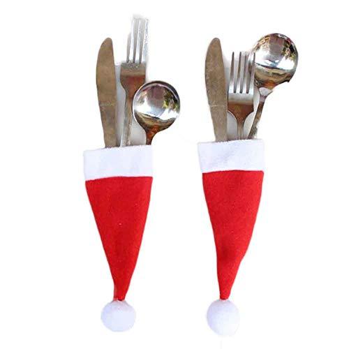 WARMWORD Bolsita para Cubiertos,Cubiertos Tenedores Bolsa decoración de Mesa,Decoraciones de Navidad,Gorro navideño para Juego de Tenedores para Cuchillos 5pcs