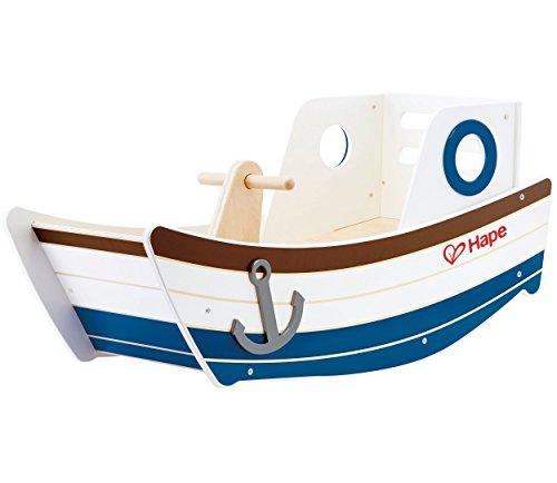Hape- Rocking Boat Toy (Multi-Colour) Barca balancín, Multicolor (Barrutoys E0102)