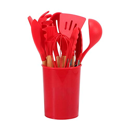 geek cook Cooking Tools,12pcs/Set Silicone Kitchenware Cooking Tool Non-stick Shovel Spoon Oil brush Egg beater Kitchen Utensils Set-12PCS Red