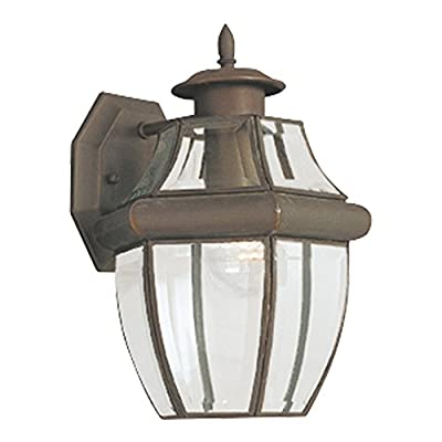 Sea Gull Lighting Lancaster One-Light Outdoor Wall Lantern with Clear Curved Beveled Glass Panels