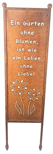 Bornhöft Schild/Spruchtafel Gartenschild Edelrost Rost zum Einstecken rostige Gartendeko (EIN Garten ohne Blumen ist wie EIN Leben ohne Liebe)