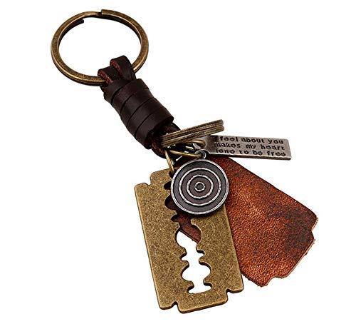 Ou lida Alter Bronzeklingen-Rasiermesser Keychain gesponnener Keychain Anhänger1 derMänner
