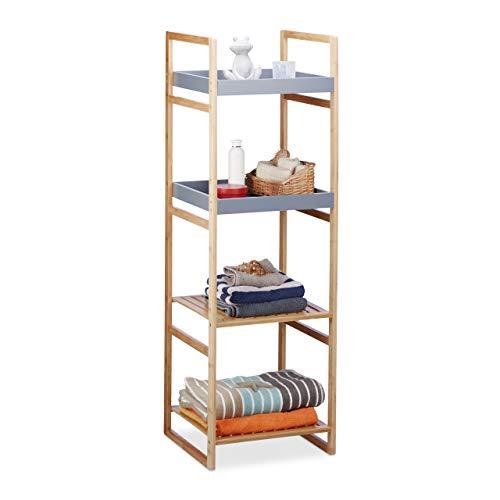 Relaxdays estantería de baño, Cuatro estantes, Madera, de pie, bambú, Mueble de almacenaje, Gris, 125,5x40x40 cm