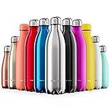 Proworks Bottiglia Acqua in Acciaio Inox, Senza BPA Vuoto Isolato Borraccia Termica in Metallo per Bevande Calde per 12 Ore & Fredde 24 Ore, Borraccia per Sport, Lavoro e Palestra - 500ml - Argento
