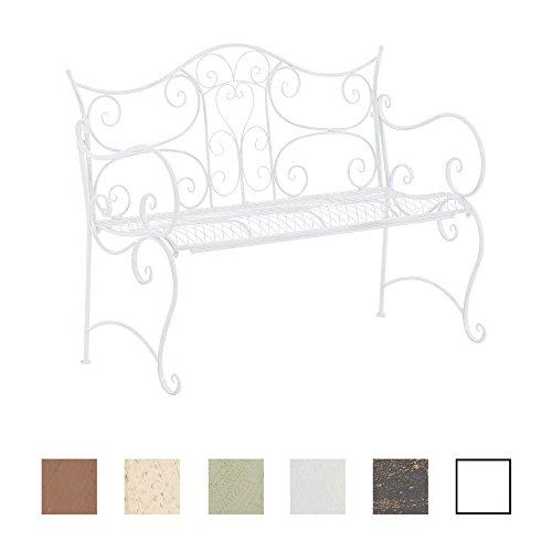 CLP Gartenbank TARA, Landhaus-Stil, Eisen lackiert, Design antik,113 x 47 cm, bis zu 5 Farben wählbar Weiß
