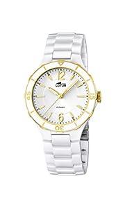 Lotus Reloj de Cuarzo para Mujer con Color Blanco Esfera analógica Pantalla y Pulsera de cerámica Blancos 15931/2