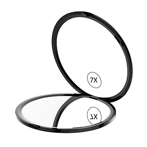 WEILY Espejo de Maquillaje Compacto para Viajes, Espejo de Bolsillo de Aumento 1X/7X con Rotación Ajustable de 180 °, Mini Espejo Portátil Plegable Redondo (7X, Negro)