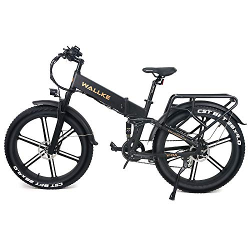 W Wallke X2 Pro Folding Electric Bike 48V Samsung Lithium Battery, 26 Inch Fat Tire Ebike 750W, Shimano 8 Speed Adult Electric Bicycle (Matte Black)