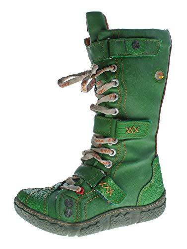 TMA Damen Leder Winter Comfort Stiefel gefüttert echt Leder Schuhe 7086 Grün Gr. 37