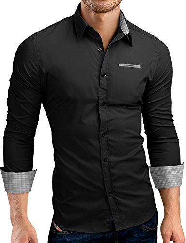 Grin&Bear Slim Fit Shirt Hemd Herrenhemd Kontrast Fake Pocket, schwarz, S, SH00566