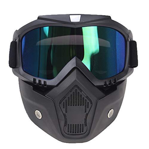 U/D Máscara de la Vendimia del Casco de la Motocicleta de Motocross Gafas Casco Retro de los vidrios a Prueba de Viento Cara Abierta Cascos Gafas (Color : 04 Negro, Size : Gratis)